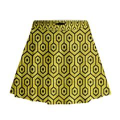 Hexagon1 Black Marble & Gold Glitter (r) Mini Flare Skirt