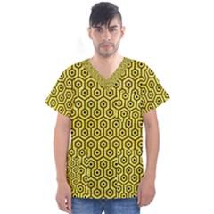 Hexagon1 Black Marble & Gold Glitter (r) Men s V Neck Scrub Top