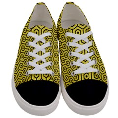 Hexagon1 Black Marble & Gold Glitter (r) Women s Low Top Canvas Sneakers