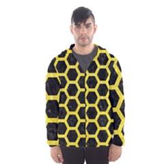 Hexagon2 Black Marble & Gold Glitter Hooded Wind Breaker (men)