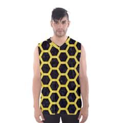 Hexagon2 Black Marble & Gold Glitter Men s Basketball Tank Top