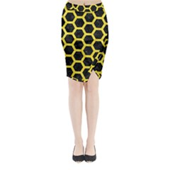 Hexagon2 Black Marble & Gold Glitter Midi Wrap Pencil Skirt