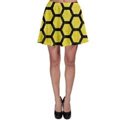 Hexagon2 Black Marble & Gold Glitter (r) Skater Skirt