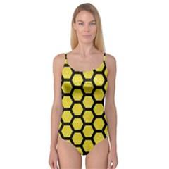 Hexagon2 Black Marble & Gold Glitter (r) Camisole Leotard