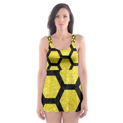 Hexagon2 Black Marble & Gold Glitter (r) Skater Dress Swimsuit