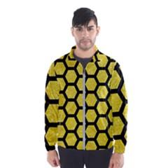 Hexagon2 Black Marble & Gold Glitter (r) Wind Breaker (men)