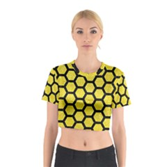 Hexagon2 Black Marble & Gold Glitter (r) Cotton Crop Top