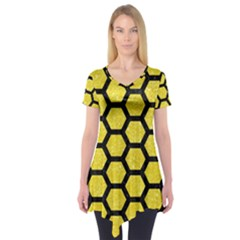 Hexagon2 Black Marble & Gold Glitter (r) Short Sleeve Tunic