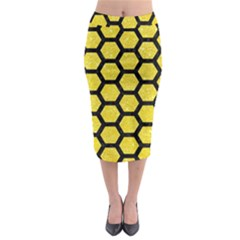 Hexagon2 Black Marble & Gold Glitter (r) Midi Pencil Skirt