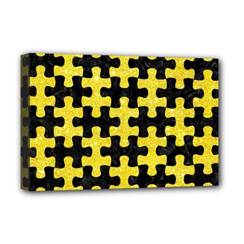Puzzle1 Black Marble & Gold Glitter Deluxe Canvas 18  X 12