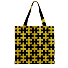 Puzzle1 Black Marble & Gold Glitter Zipper Grocery Tote Bag
