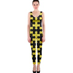 Puzzle1 Black Marble & Gold Glitter Onepiece Catsuit