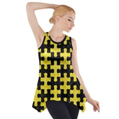 Puzzle1 Black Marble & Gold Glitter Side Drop Tank Tunic
