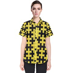 Puzzle1 Black Marble & Gold Glitter Women s Short Sleeve Shirt