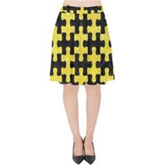 Puzzle1 Black Marble & Gold Glitter Velvet High Waist Skirt