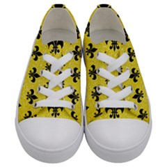 Royal1 Black Marble & Gold Glitter Kids  Low Top Canvas Sneakers