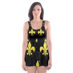 Royal1 Black Marble & Gold Glitter (r) Skater Dress Swimsuit