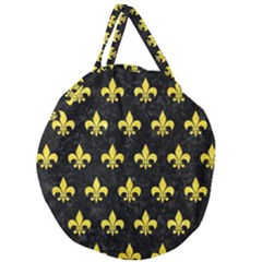 Royal1 Black Marble & Gold Glitter (r) Giant Round Zipper Tote