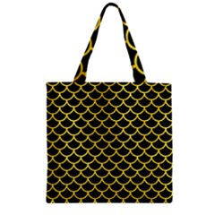 Scales1 Black Marble & Gold Glitter Zipper Grocery Tote Bag
