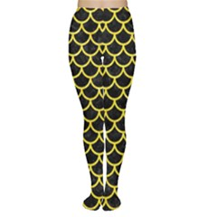 Scales1 Black Marble & Gold Glitter Women s Tights