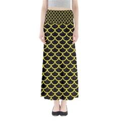 Scales1 Black Marble & Gold Glitter Full Length Maxi Skirt