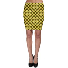 Scales1 Black Marble & Gold Glitter (r) Bodycon Skirt