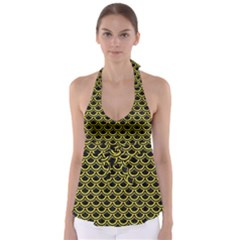 Scales2 Black Marble & Gold Glitterscales2 Black Marble & Gold Glitter Babydoll Tankini Top