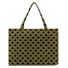 Scales2 Black Marble & Gold Glitterscales2 Black Marble & Gold Glitter Zipper Medium Tote Bag