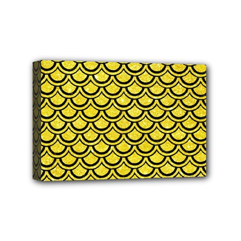 Scales2 Black Marble & Gold Glitter (r) Mini Canvas 6  X 4