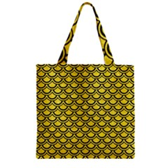 Scales2 Black Marble & Gold Glitter (r) Zipper Grocery Tote Bag