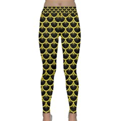 Scales3 Black Marble & Gold Glitter Classic Yoga Leggings