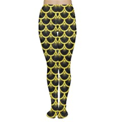 Scales3 Black Marble & Gold Glitter Women s Tights