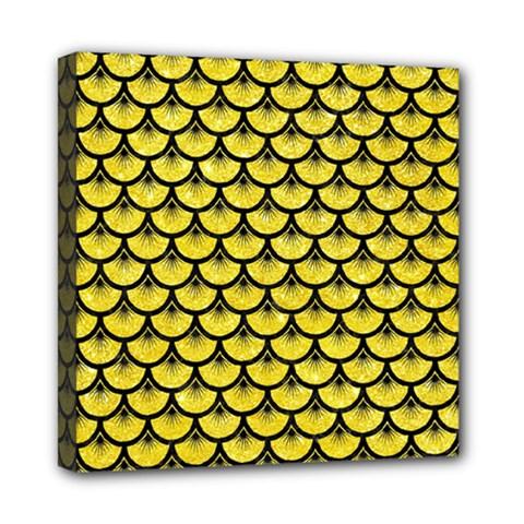 Scales3 Black Marble & Gold Glitter (r) Mini Canvas 8  X 8