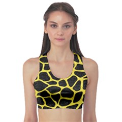 Skin1 Black Marble & Gold Glitter (r) Sports Bra