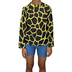 Skin1 Black Marble & Gold Glitter (r) Kids  Long Sleeve Swimwear