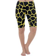 Skin1 Black Marble & Gold Glitter (r) Cropped Leggings