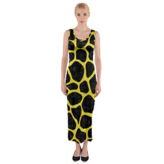Skin1 Black Marble & Gold Glitter (r) Fitted Maxi Dress
