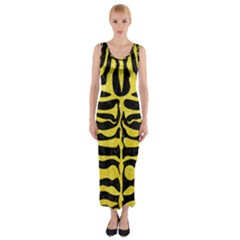 Skin2 Black Marble & Gold Glitter Fitted Maxi Dress