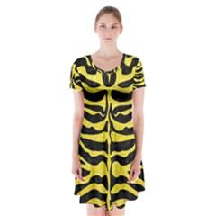 Skin2 Black Marble & Gold Glitter Short Sleeve V Neck Flare Dress