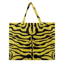 Skin2 Black Marble & Gold Glitter (r) Zipper Large Tote Bag