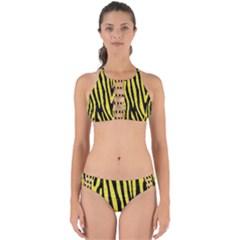 Skin4 Black Marble & Gold Glitter (r) Perfectly Cut Out Bikini Set