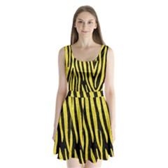 Skin4 Black Marble & Gold Glitter (r) Split Back Mini Dress
