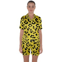 Skin5 Black Marble & Gold Glitter Satin Short Sleeve Pyjamas Set