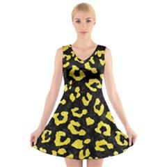 Skin5 Black Marble & Gold Glitter (r) V Neck Sleeveless Skater Dress