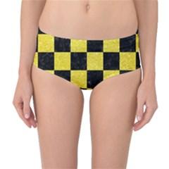 Square1 Black Marble & Gold Glitter Mid Waist Bikini Bottoms