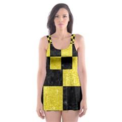 Square1 Black Marble & Gold Glitter Skater Dress Swimsuit