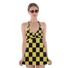 Square1 Black Marble & Gold Glitter Halter Swimsuit Dress