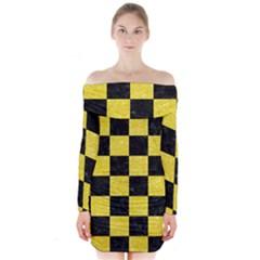 Square1 Black Marble & Gold Glitter Long Sleeve Off Shoulder Dress