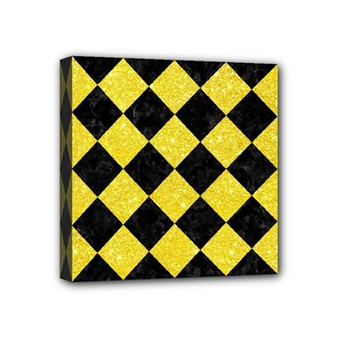 Square2 Black Marble & Gold Glitter Mini Canvas 4  X 4