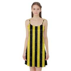 Stripes1 Black Marble & Gold Glitter Satin Night Slip
